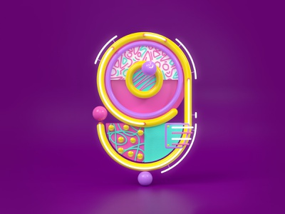 9 3d modeling neon lights blender tubes memphis style neon numbers numerals 9 36daysoftype 3d rendering smile pompoms 3d retro graphic vector illustration
