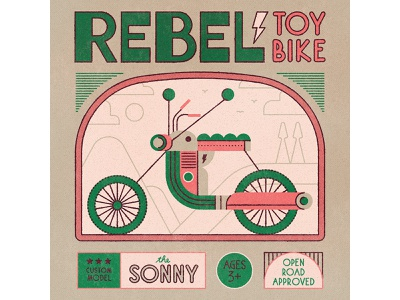 Rebel toys linework label design packaging typedesign bike typography lettering design flat retro drawing graphic vector texture illustration