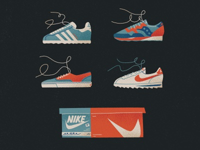 Sneaky Sneaks nostalgic vintage new balance addidas vans laces sneakers shoes packaging nike halftones retro drawing graphic vector texture illustration