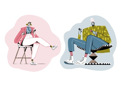 Infinite Scrolling characters fashion floral pattern sneakers instagram media socials man woman character design flat editorial retro drawing graphic character vector texture illustration