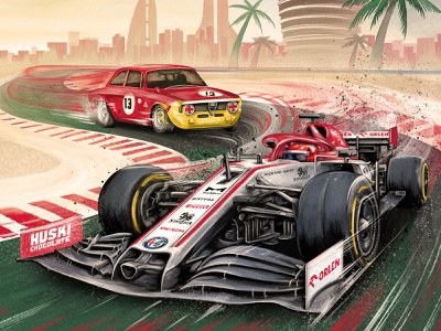 Alfa Romeo racing palm trees race cars cars bahrain motion lines speed alfa romeo formula1 vintage flat editorial retro drawing graphic character texture illustration