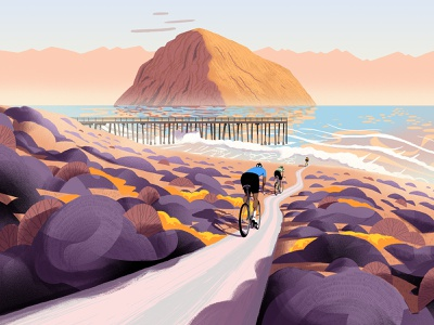 Eroica bushes shrubs foliage mountain ocean sea characterdesign travel california cycling cyclists poster design editorial retro drawing graphic character texture illustration