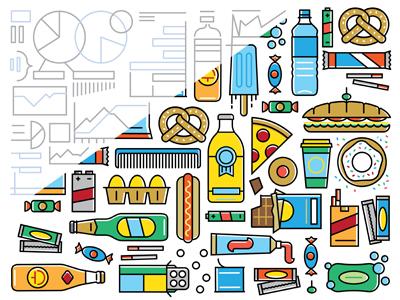 Consumer icons vector pretzel chocolate gum soda comb battery sweets coffee hotdog soap