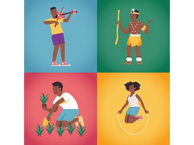 Lifebuoy halftones girl boy characterdesign skipping african instrument musical music gardening violin zulu flat editorial retro graphic character vector illustration