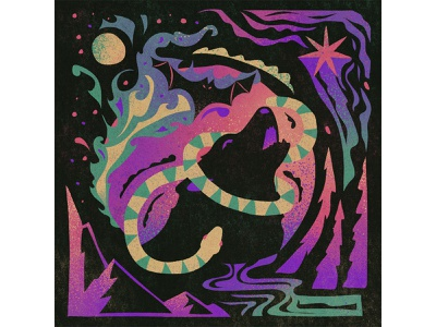 Fury abstract stars dark night time moon rivers mountains clouds bat snake pattern wolf flat retro graphic character vector texture illustration