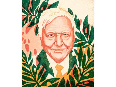 Sir David Attenborough foliage characterdesign portrait illustration david attenborough planet earth plants pattern vintage flat editorial drawing graphic character texture illustration