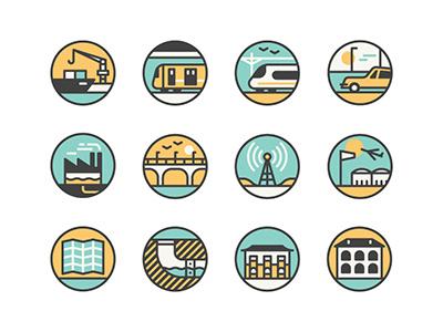Hong Kong icons monocle muti icons vector boat harbour train subway car bridge airport map