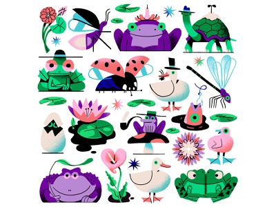 Pond Life toad pond plants egg tortoise duck fish lilly ladybug insects dragonfly frogs characterdesign flat drawing graphic character texture illustration