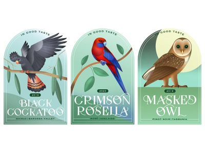 Wines From Down Under crimsonrosella owl cockatoo gradients digitalpainting graphicdesign lettering typography birds labeldesign design drawing graphic texture illustration