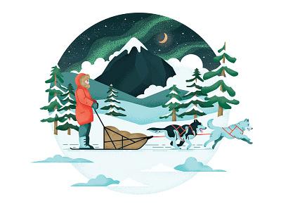 Northern Lights mushing trees snow sky nature northern lights alaska dog animals retro drawing graphic character vector texture illustration
