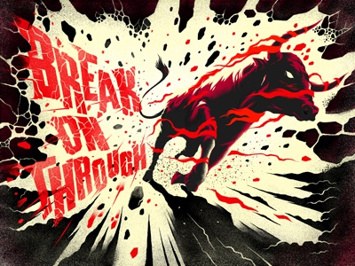 Break on through bull energy red smash typography drawing texture smoke horns rock animal eye