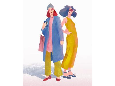 Fashion hair coats handbags women clothing geometric simple characterdesign looks fashion design drawing graphic character texture illustration