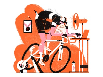 Ride On bicycle cycle lockdown online man indoor cycling ride moustache beard characterdesign cyclist retro design drawing graphic character texture illustration