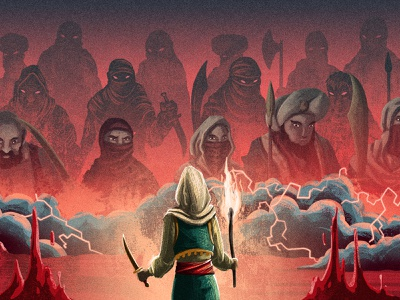 The Forty Thieves ⚔️ spear lightening clouds alibaba and the forty thieves stories middle east characters character design portrait illustration swords thieves retro drawing graphic character texture illustration