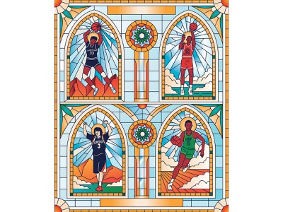 Miracles on Hardwood men players cover illustration book design editorial sports basketball characterdesign stained glass retro graphic character vector illustration
