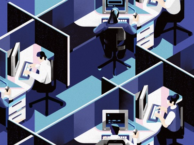Workplace Evolution wokation laptops computers perspective evolution layout isolation workplace office men women character design isometric editorial drawing graphic character vector texture illustration