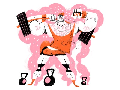 Leg Day isolation deadlift man characterdesign exercise leg day weights muscles retro drawing graphic character texture illustration