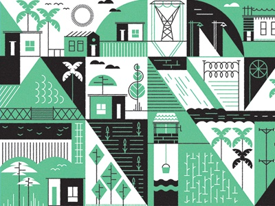 Ivory Coast  farming palm electricity development trees plantations well house vector graphic