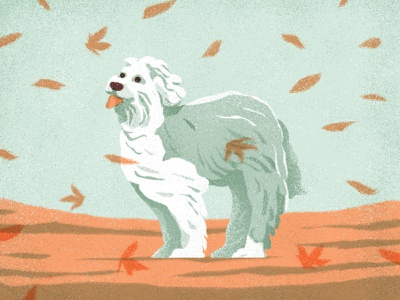 A Gentle Breeze characterdesign leaves fall autumn wind animals dog retro drawing graphic character texture illustration design