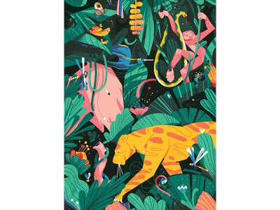 Wildlife character design flowers insects lion frog tiger elephant editorial wildlife jungle foliage leaves birds monnkey animals drawing graphic character texture illustration