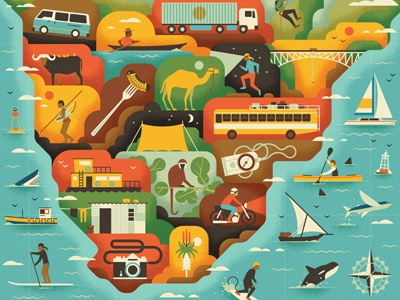 Adventure Map map icon vector texture vintage compass muti boat bird ocean coast transport