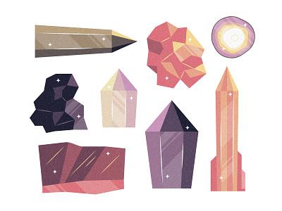 Crystals and Quartz shiny rocks stones witchcraft spells love crystals quartz editorial design retro drawing graphic vector texture illustration