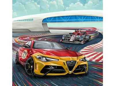 Making History race track track race car alfa romeo grand prix formula one speed vehicles racing cars design retro drawing graphic character texture illustration