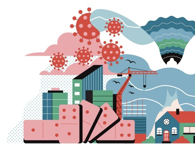 Butterfly Effect factory city buildings stylised leaves dandelion butterfly effect domino effect dominos covid linework editorial butterfly retro drawing graphic character vector texture illustration