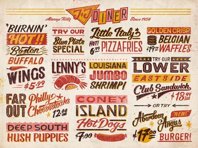 Diner vintage typography lettering diner hotdog prawn waffles texture chilli