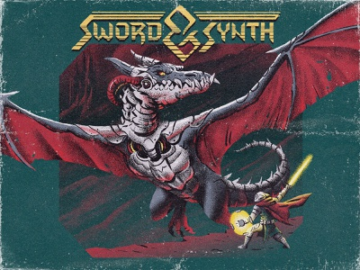 Sword and Synth spotify playlist music characterdesign warrior sword dragon dungeonsanddragons lettering typography logo design retro drawing graphic character texture illustration