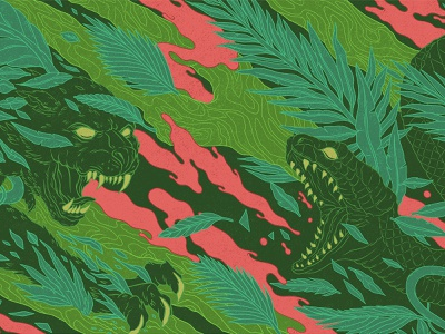 Jungle Green muti 10 year celebration characterdesign animals linework leaves foliage panther scales snake jungle pattern design drawing graphic character texture illustration