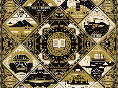Jules Verne adventure lighthouse travel compass border design pattern linework posterdesign coverillustration book cover julesverne design retro drawing graphic character vector illustration