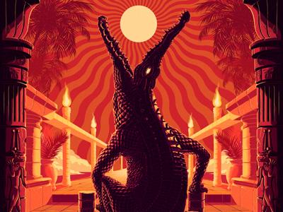 Sobek illustration muti crocodile sun psychedelic flame scales palm temple egypt teeth eye