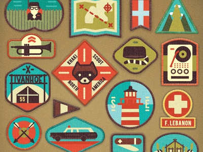 Moonrise Kingdom characterdesign scouts badge scout camp outdoors wes anderson moonrise kingdom badges design retro drawing graphic character vector texture illustration