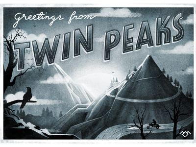 Twin Peaks muti 10 years muti retrospective david lynch mountains trees car lettering typography black and white characterdesign twin peaks postcard design retro drawing graphic character vector texture illustration