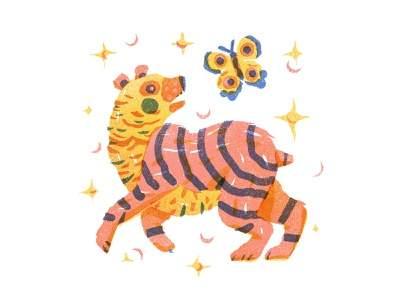Haze playful insects bear butterfly characterdesign animal tiger stylized sparkles multiply design retro drawing graphic character vector texture illustration