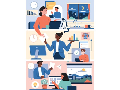 Middle Market Growth urban city work cat digital man woman cloud remote graphic editorial office clock plants future design character vector illustration ill