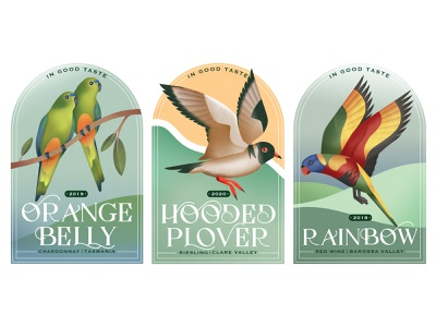 In Good Taste hooded plover foliage tasters wine labels wine label design drawing australia birds packaging graphic texture illustration