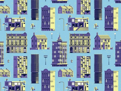 Hello World pattern design urban city lighting apartments mid-century palm trees houses home patterns design retro drawing graphic character vector texture illustration