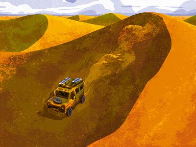 An Ocean of Sand desert landscape clouds sand dunes dunes sand 4x4 jeep perspective design retro drawing graphic vector texture illustration