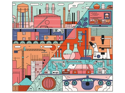 Global 500 digital factories technology robotics construction laboratory science airplane city buildings corporations monoline linework design drawing graphic character vector texture illustration