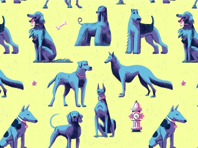 Fetch! character design animals playful bones tennis ball fetch pattern design dogs mans best friend patterns design retro drawing graphic character texture illustration