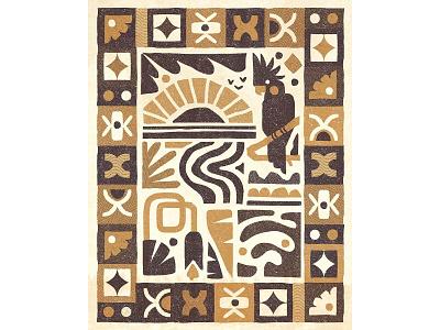Island 🏝 tropical border parrot sea ocean plants island holiday foliage birds patterns design retro drawing graphic vector texture illustration