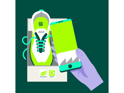 Avery Dennison motiondesign loop fashion retail technology phone trainers sneakers sustainability app shopping animation design drawing graphic character vector illustration