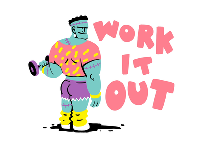 Frank peach muscles monsters stop frame animation motion graphics animation halloween frankenstein exercise pattern design retro drawing graphic character vector illustration