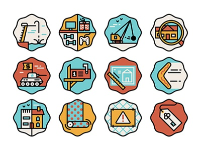 Real estate icons icons vector muti editorial tank demolish house boomerang key warning wallpaper tag