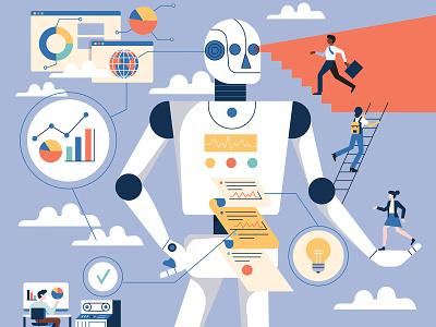 🤖 technology robot computers clouds characterdesign work statistics robotics design retro drawing graphic character vector illustration