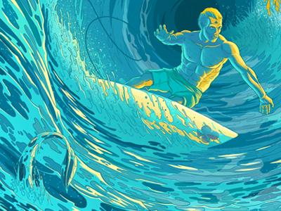 Surf's up! surfing blue ocean water drawing art surfboard surf tentacle foam sea man