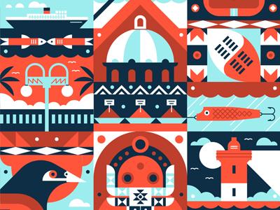 Durban vector muti fabric icons illustration boat fish lure shield lighthouse bird pattern