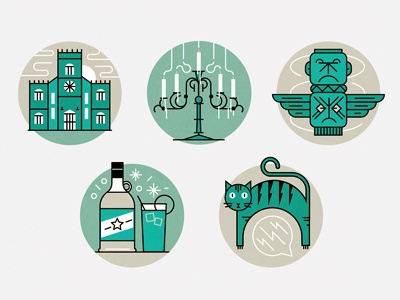 Haunted House ghosts cat totem candles haunted bottle church icons vector
